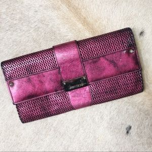 Authentic Jimmy Choo Reese Clutch, Magenta